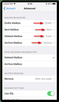 Set the correct mailbox behaviors for folders on the server