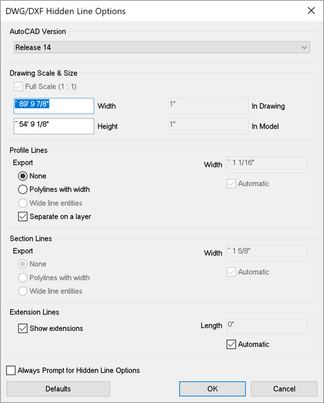 Line options for exporting a 2D CAD file from SketchUp for Microsoft Windows