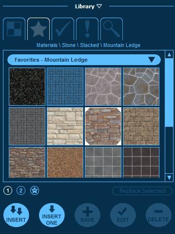 Pool Studio Materials Library Favorites Tab