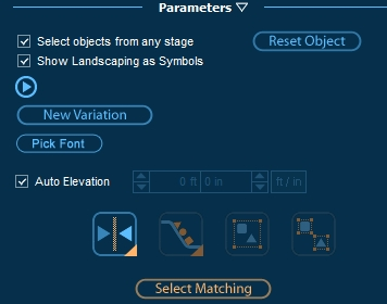 Pool Studio Panel Parameters for Selecting Matching Objects