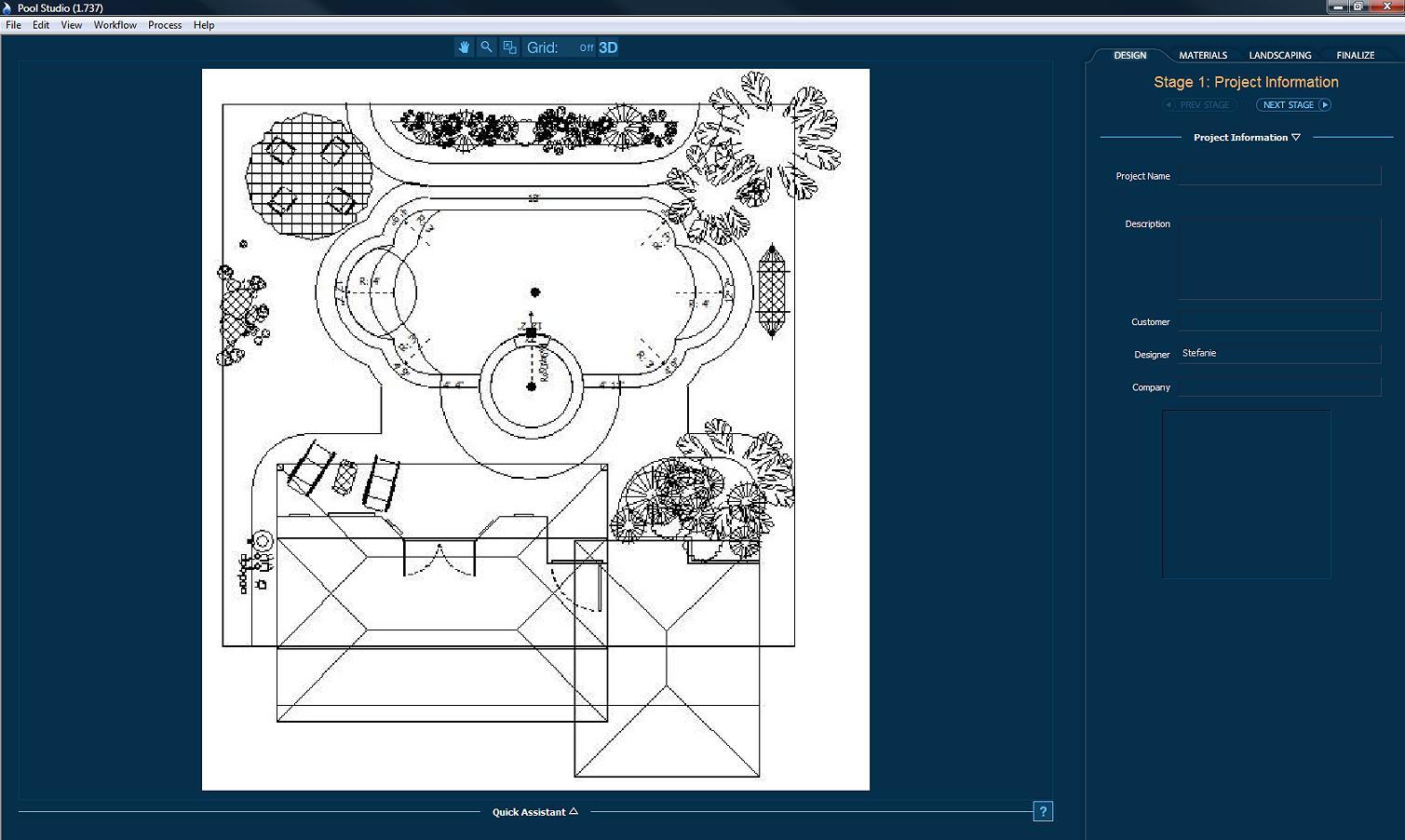 Pool Studio Background Image in 2D Viewport