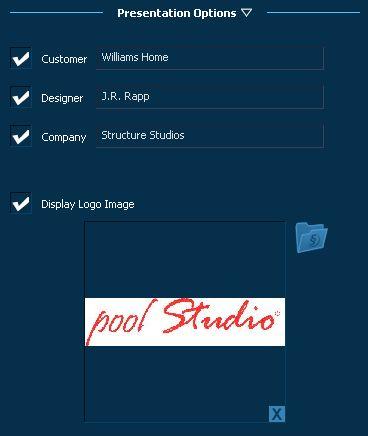 Pool Studio Create Presentation Options