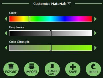 VizTerra Customize Materials Menu