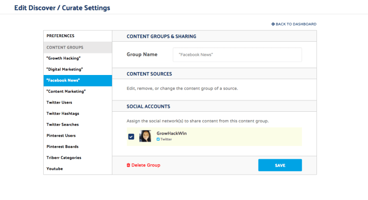 Curate Content Group Settings