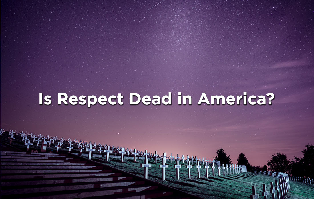"moon lit graveyard with words ""is respect dead in America?"""