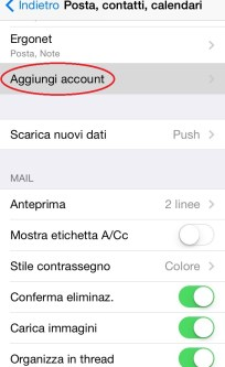 configurazione mailbox su IPhone/IPad