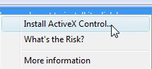 selecting Install ActiveX Control