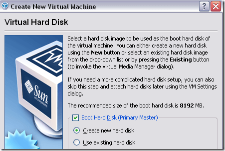 new virtual hard disk