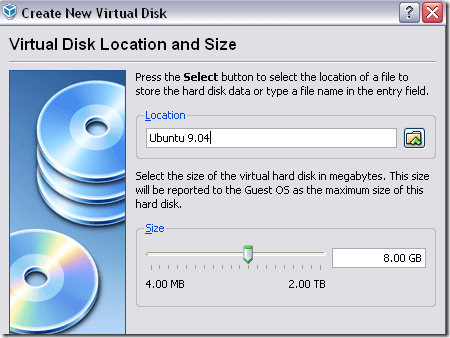 virtual hard disk size location