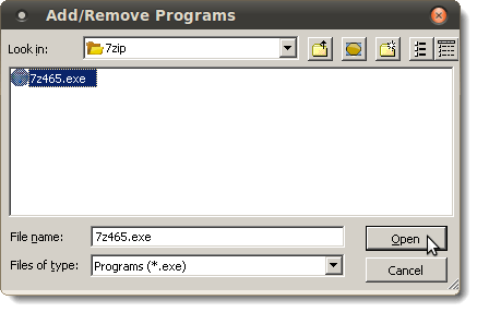 Selecting the 7-Zip executable file