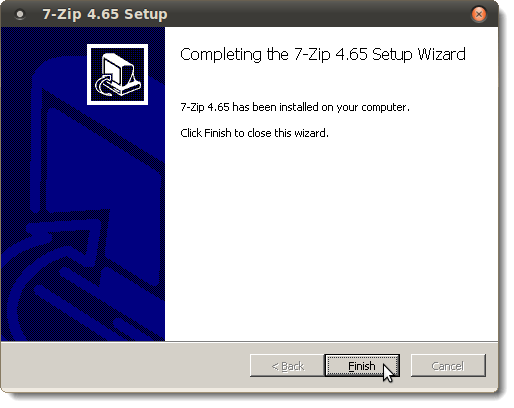 7-Zip installation finished