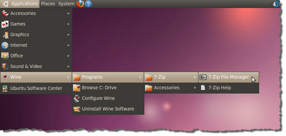 7-Zip on Wine submenu