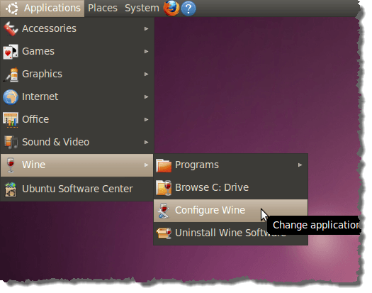Configure Wine option