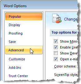 Accessing Advanced Word Options in Word 2007