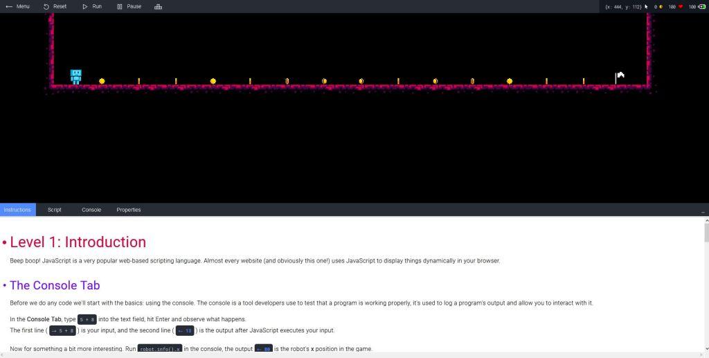 JSRobot: Javascript learning game in the browser – HelpDev