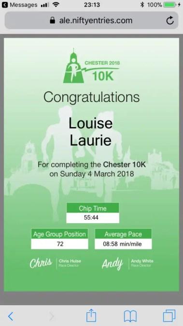 Chester 10K finishing time