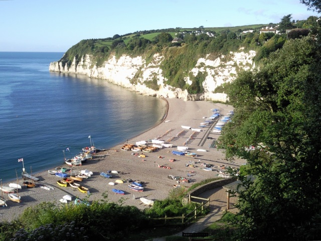 Cliff top view of the beach at Beer