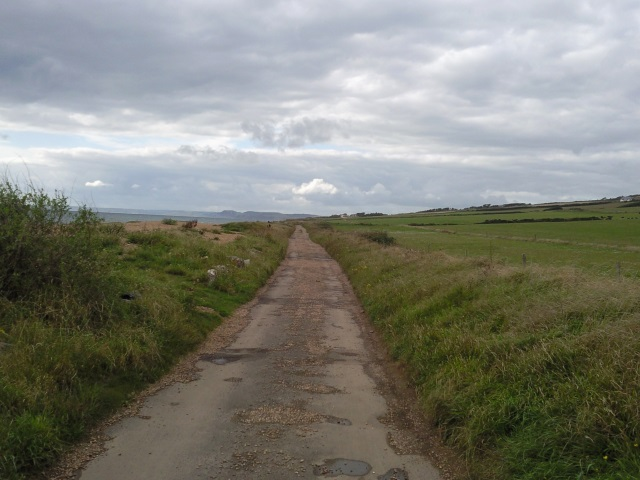 A single track road in a state of poor repair, with the beach to the left and fields to the right