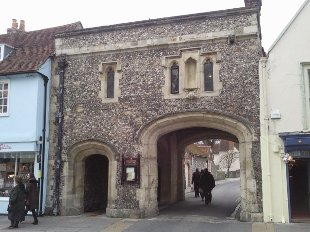 Arched gateway leading to Chichester Cathedral