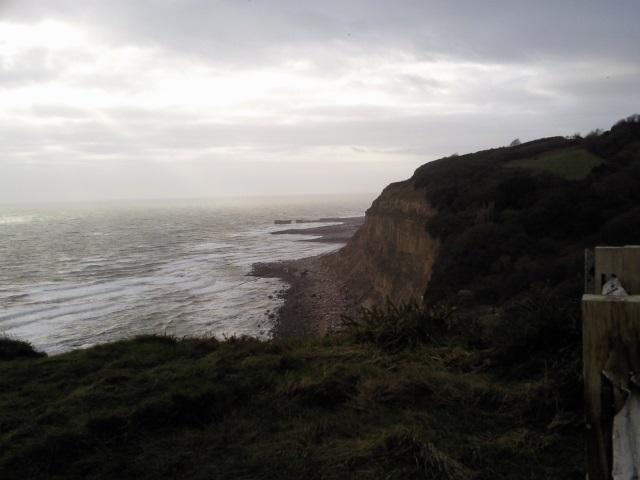 Dark, dramatic cliffs.