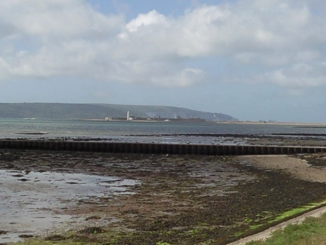 Hurst Castle as seen from Keyhaven Marshes with the Isle of Wight behind it.