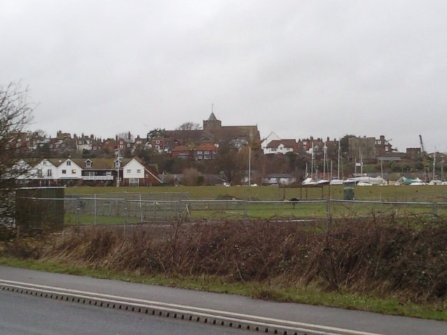 Rye seen from the road to Rye Harbour