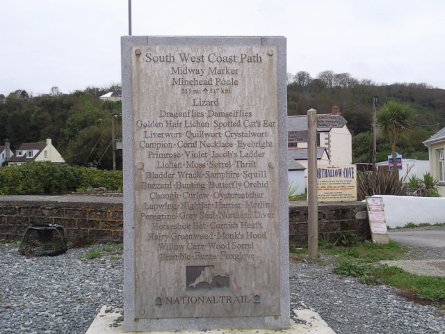 Midway marker for the South West Coast Path