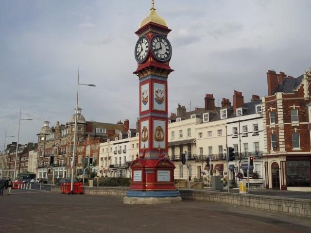 Rtaher gaudy jubilee clock standing on Weymouth Esplanade