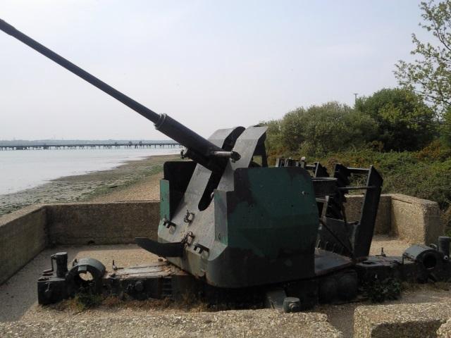 Disused WW2 AA gun on the shore of Southampton Water