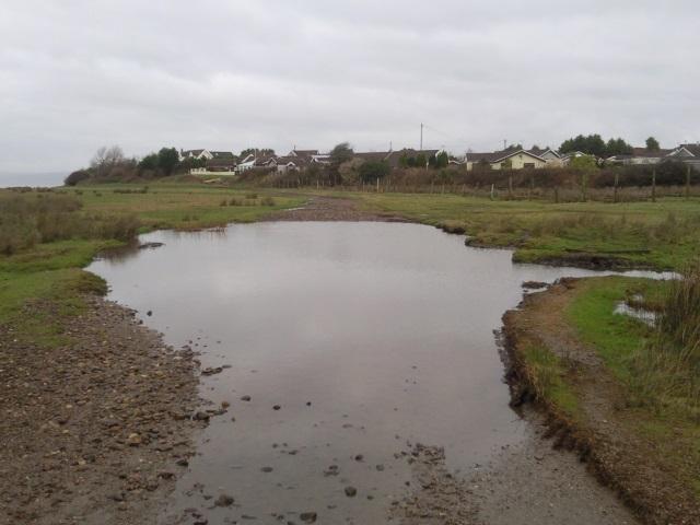 Flooded path in Crofty