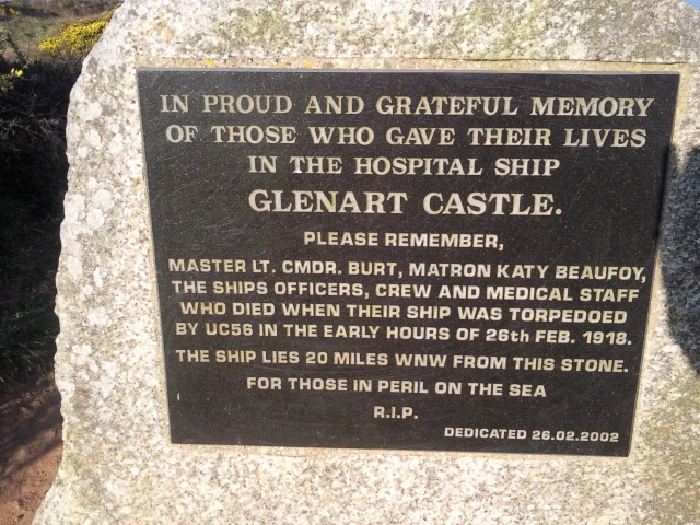 Plaque: In proud and grateful memory of those who gave their lives in the Hospital Ship Glenart Castle