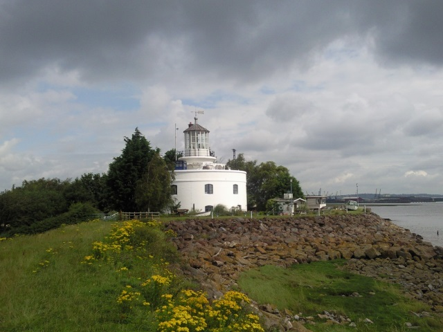 West Usk Lighthouse with a police box on its parapet