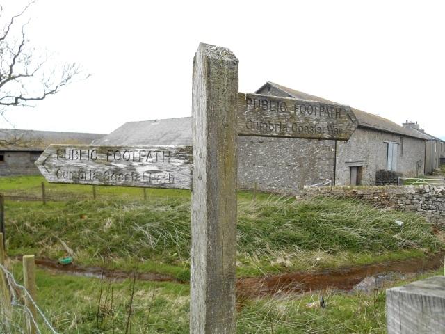 Sign at West Plain Farm saying both 'Cumbria Coastal Path' and 'Cumbria Coastal Way'
