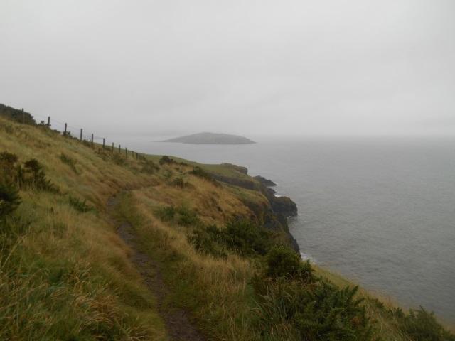 A misty Hestan Island, seen from Balcary Point