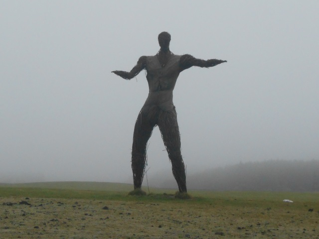 A wicker man, looming terrifyingly out of the mist