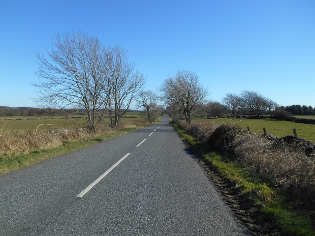 A long, straight road (the B7004 to Garlieston)