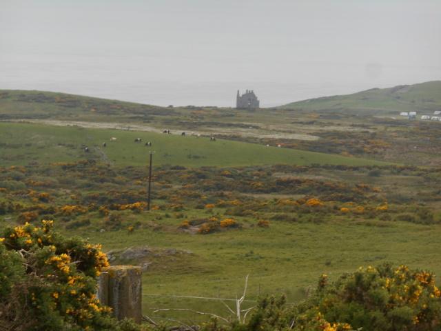 Dunskey Castle distant