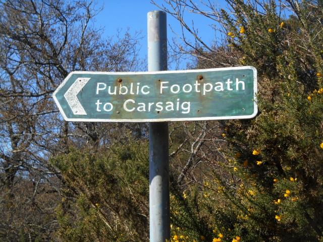 Sign: Public footpath to Carsaig
