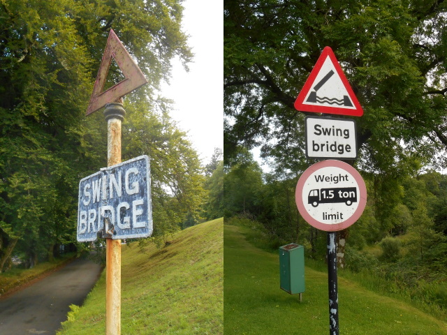 Old and current Swing Bridge signs.
