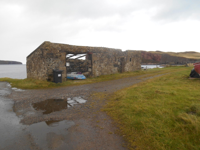 Roofless shed at Skerry Harbour