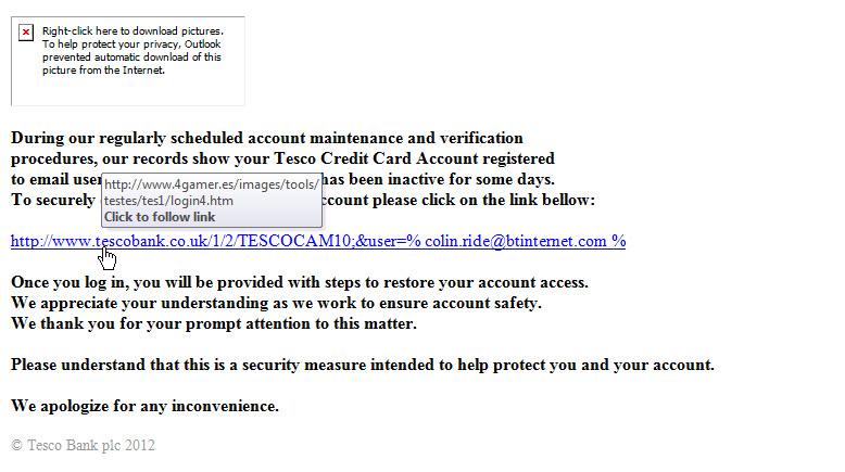 Tesco Bank Phishing Email 1