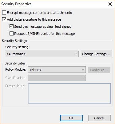 Digital Signature - Outlook Security Properties - Checked