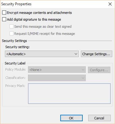 Digital Signature - Outlook Security Properties - Unchecked