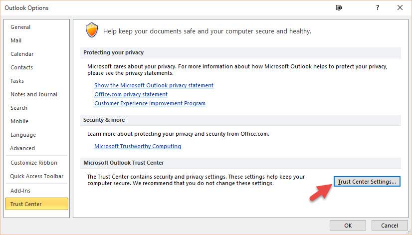 Digital Signature - Outlook Options
