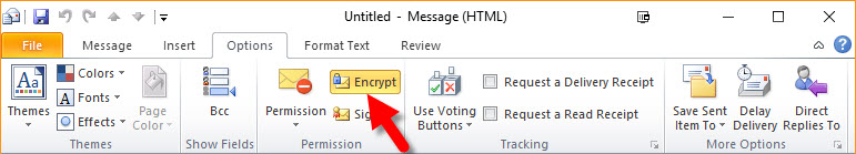 Digital Signature - Message Options Ribbon Encrypt