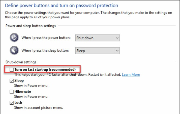 Windows 10 Fast Startup turned OFF.