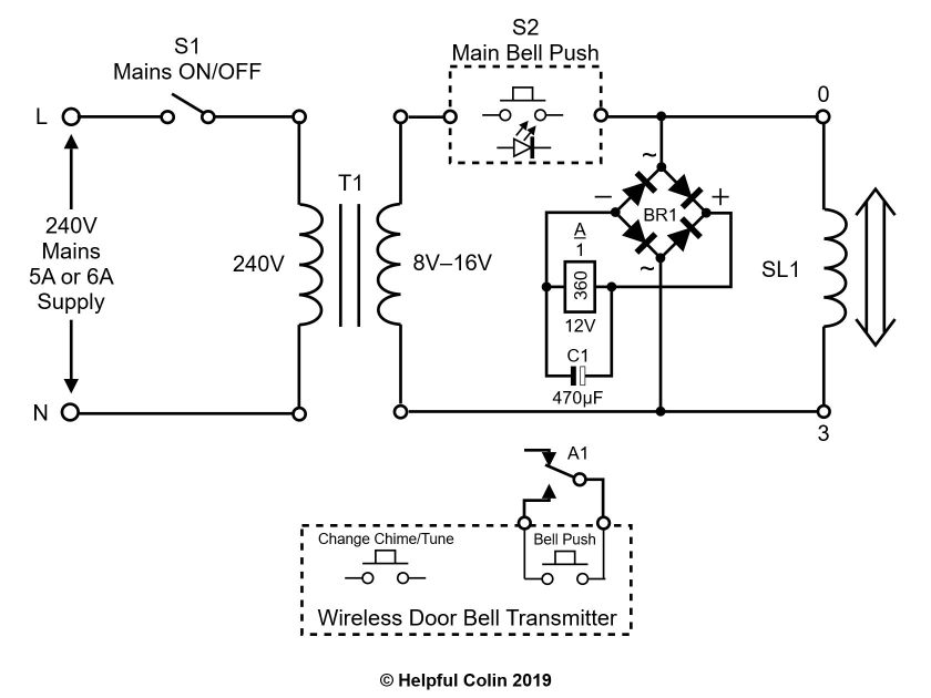 Modified Door Chime Schematic