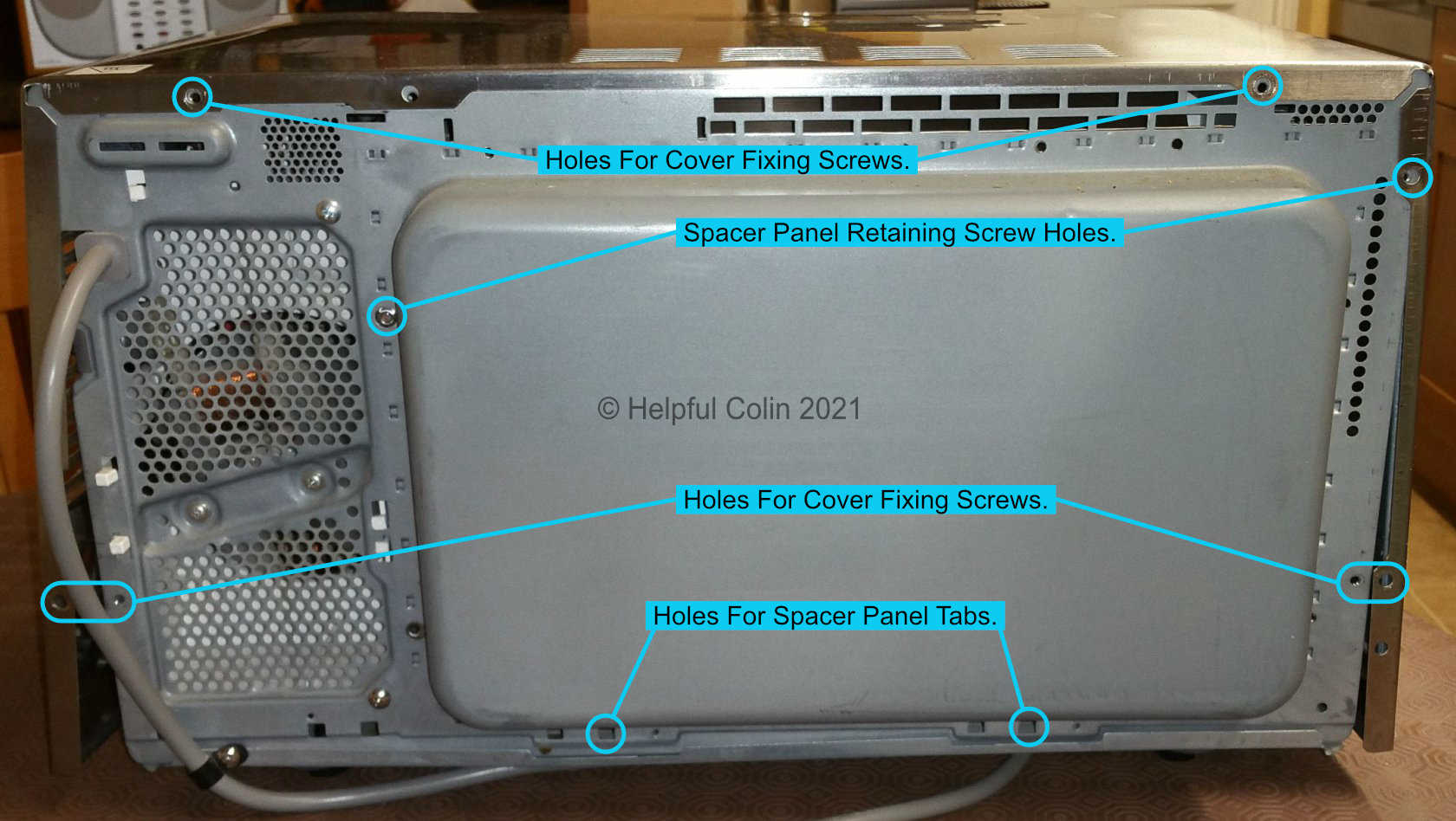 Back of Microwave Inverter Without Spacer Panel