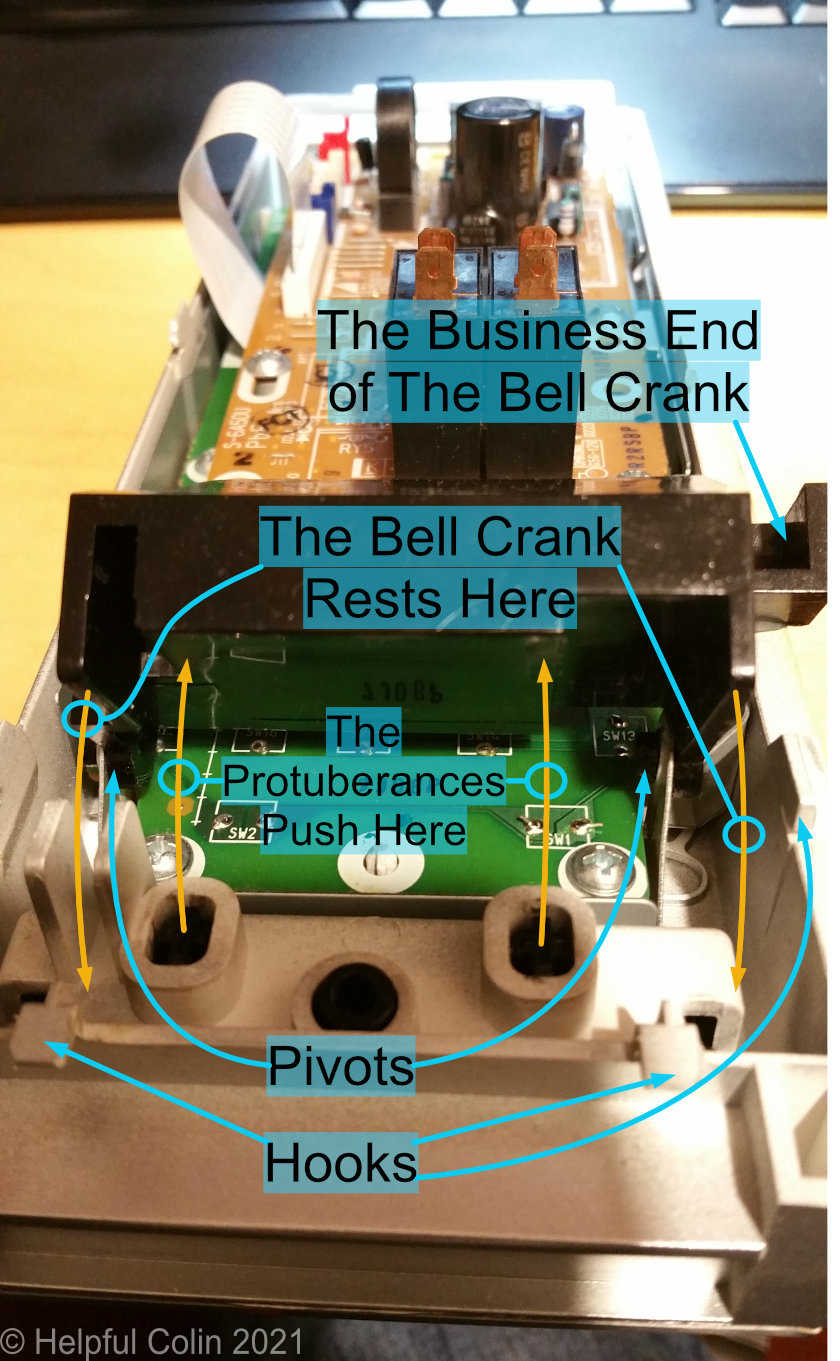 How the Bell Crank gets pushed by protuberances on the button