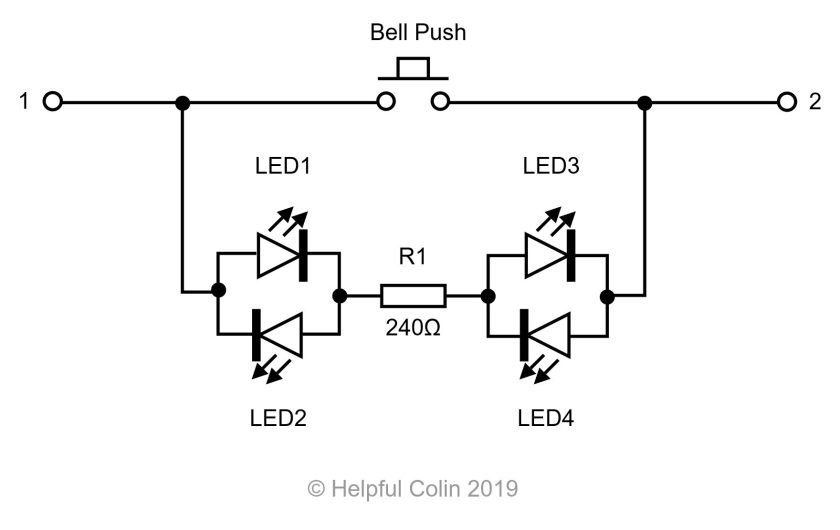 Bell Push Schematic With LEDs